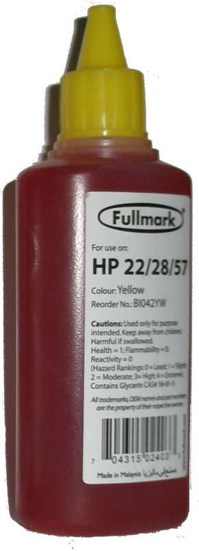 Чернила Fullmark HP №22/28/57 Yellow 100 мл.